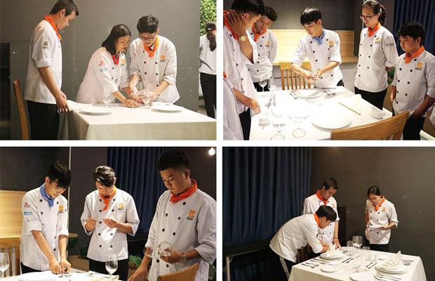 học viên thực hành bài trí bàn ăn cho set menu 2 người