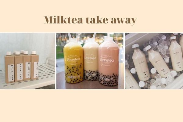 trà sữa take away dạng chai