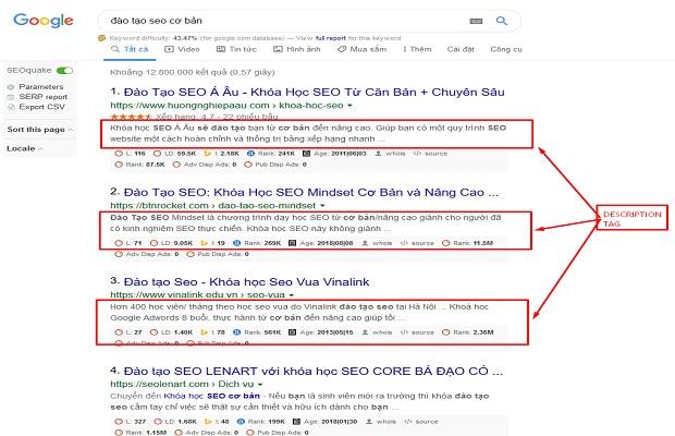 meta description trên hiển thị google